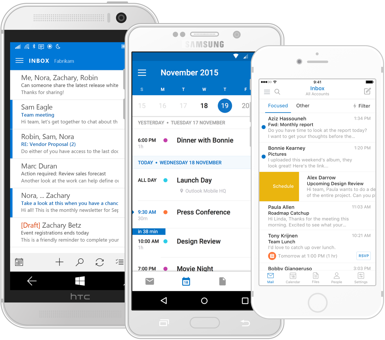 Outlook Mobile is available on Windows Phone, iPhones, and Android devices